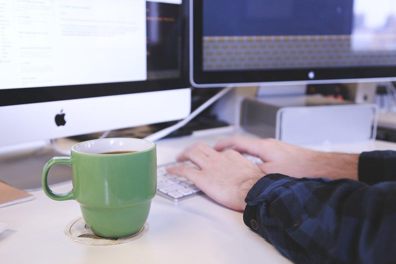 typing, computer, desk